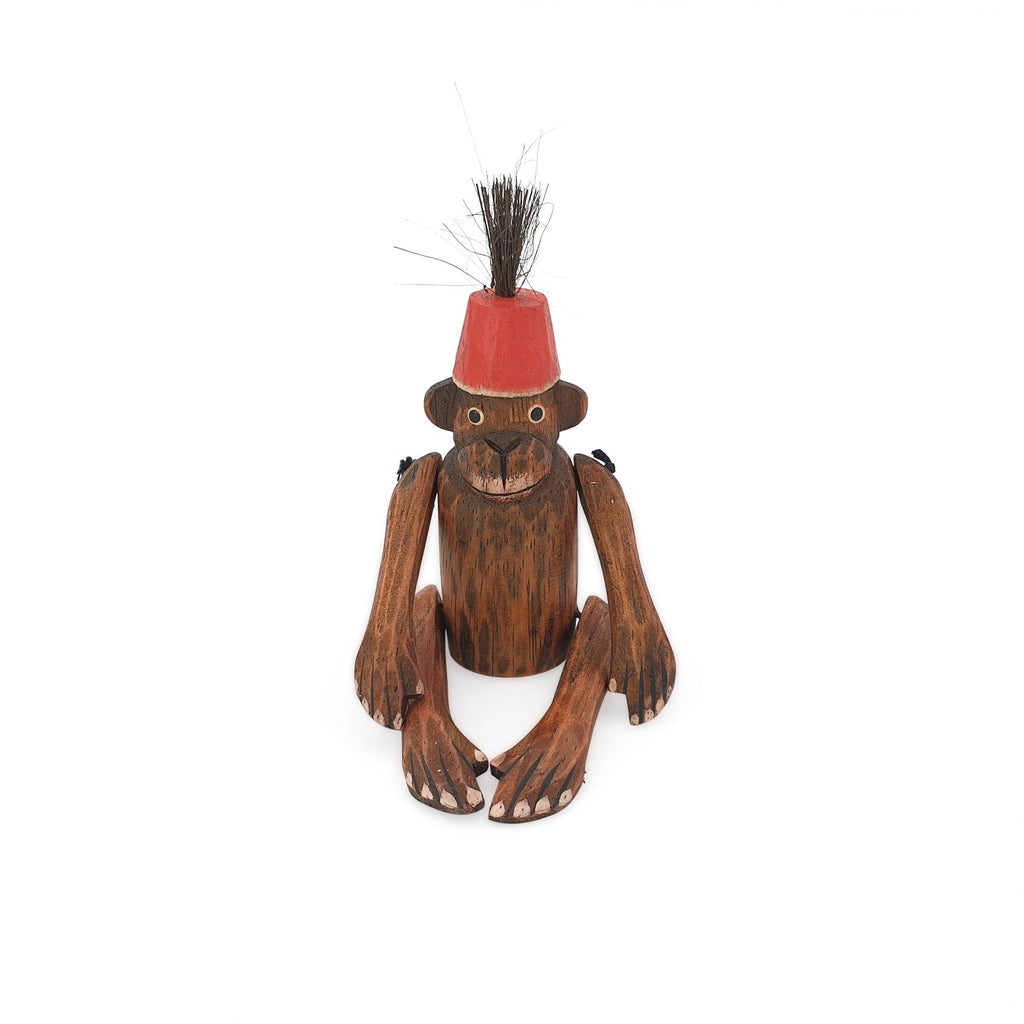 wooden monkey figurine red small