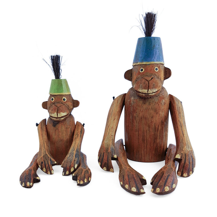 wooden monkey figurine