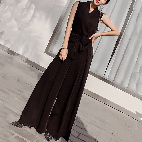 Sexy V Neck Bow Sleeveless Pure Colour Maxi Dresses