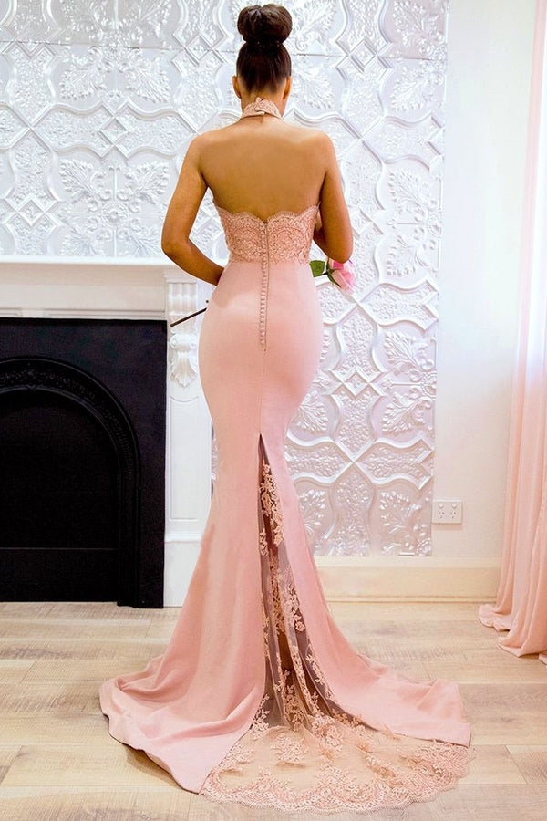 Pink Halter Neck Fishtail Wedding Bodycon Maxi Dress