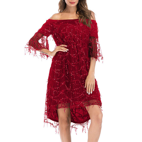 Off Shoulder Flare Sleeve Sequin Irregular Evening Dress