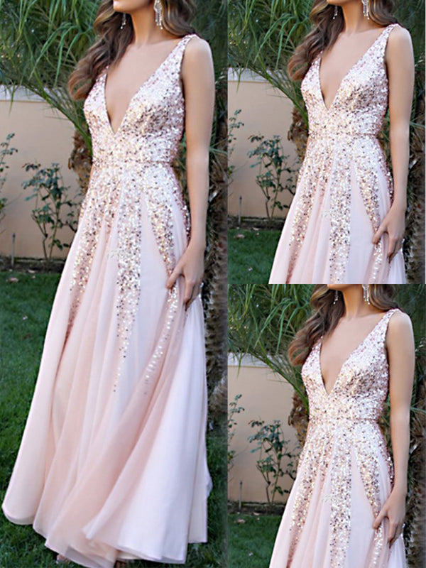 Spaghetti Strap Glitter Plain Evening Dresses