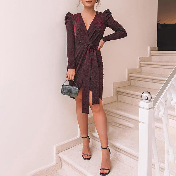 V-Neck Pleated Evening Dress Dress