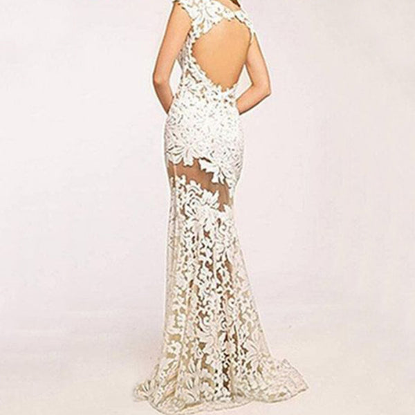 Sexy Lace Openwork Sleeveless Evening Dress