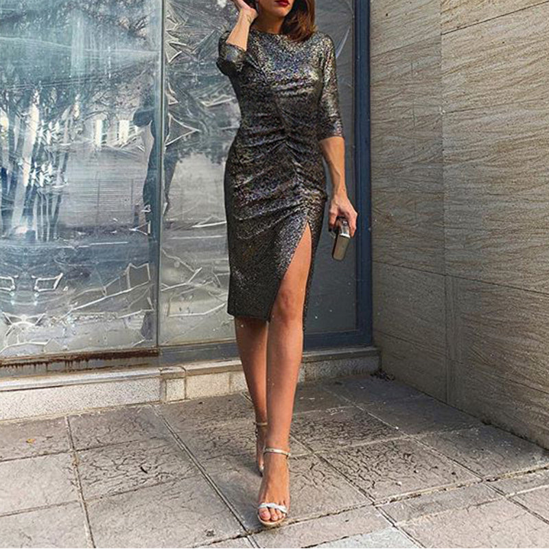 Round Neck Pleated Split Sexy Evening Dress