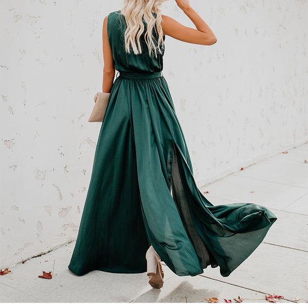 Fashion Sleeveless V Neck Slit Maxi Dresses
