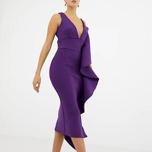 V-Neck Sling Sexy Ruffled Bodycon Dress Evening Dress