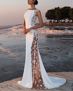 Sexy Sleeveless Lace Stitching Fishtail Party Evening Dress
