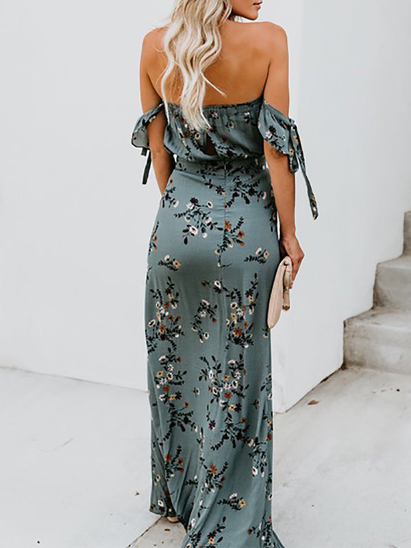 Fashion Off-Shoulder Printed Colour Maxi Dresses