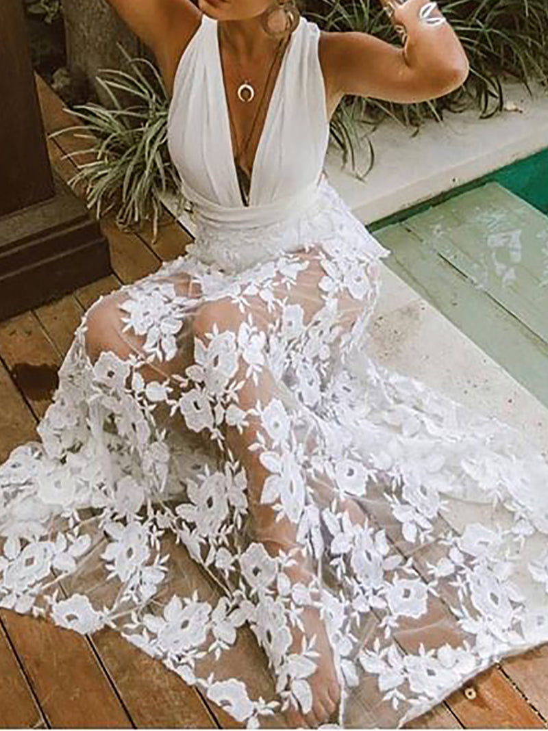 Sexy Lace Hollow Out Deep V Sleeveless Maxi Dresses