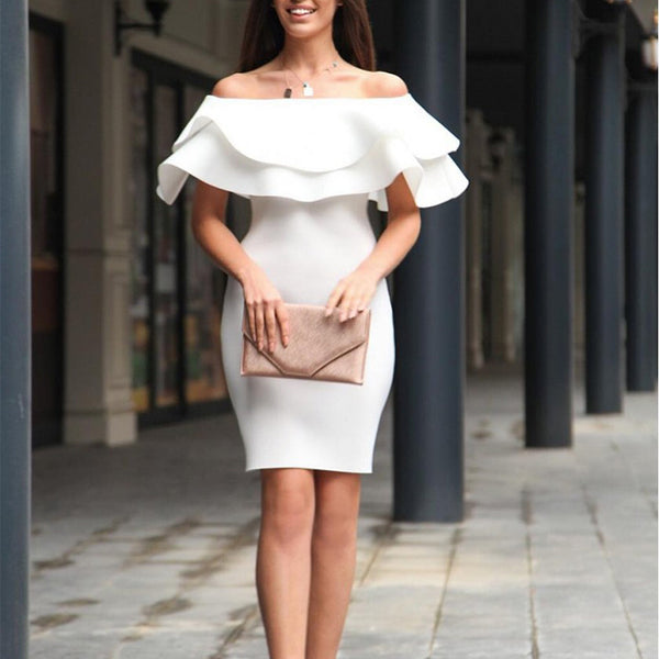 Elegant Ruffled Pure Colour Off-Shoulder Bodycon Dresses