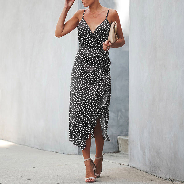 Sexy V Neck Polka Dot Sling Slit Bodycon Dresses
