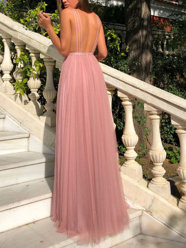 Sexy Deep V Sleeveless Halter Backless Dress