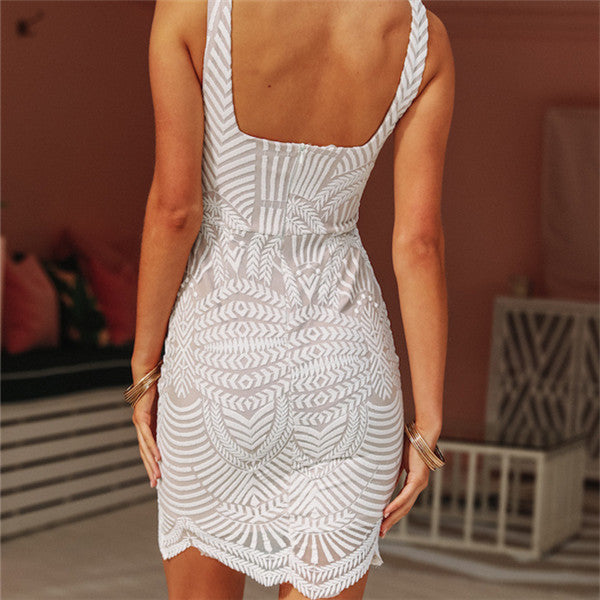 Sexy V Neck Lace Bodycon Dresses