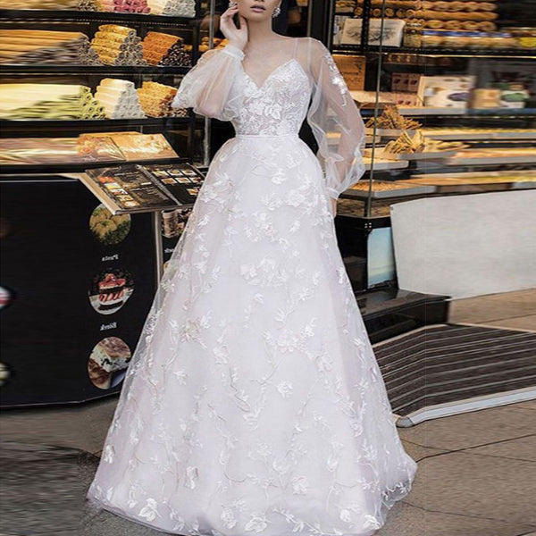 Stylish White Long Sleeve Bridesmaid Wedding Dress Dress