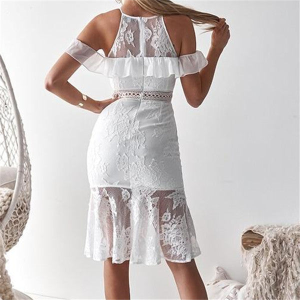 Fashion Lace Stitching Sling Bodycon Dresses