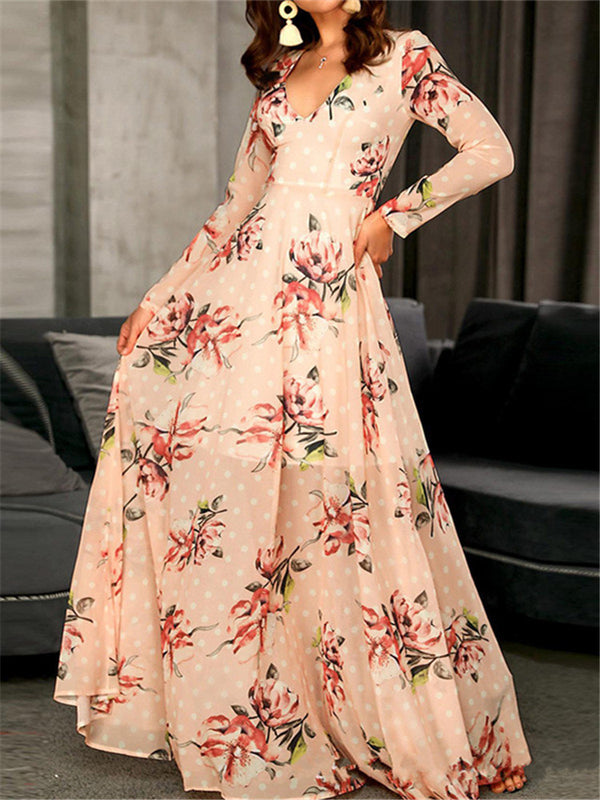 Women Fashion Deep V Collar Printed Long Sleeves Maxi Dresses