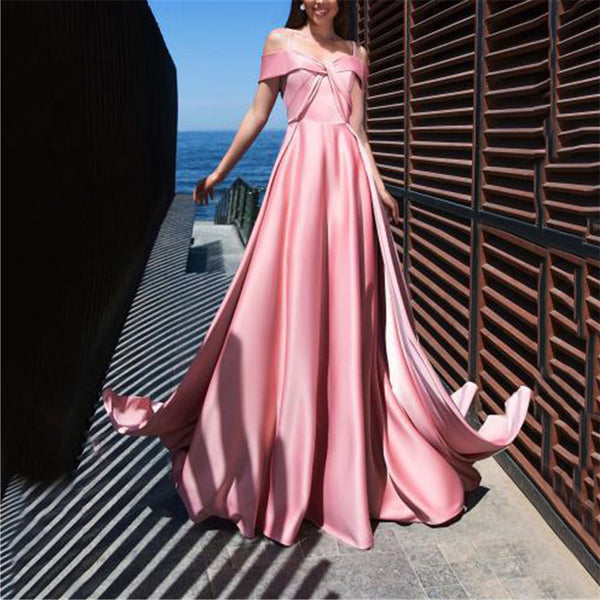 Women Sexy Suspension Pure Color Backless Evening Dresses