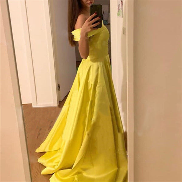 Fashion One Word Collar Pure Color Evening Dresses