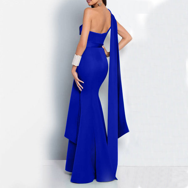 Commuting Pure Colour Sloping Shoulder Slit Evening Dress
