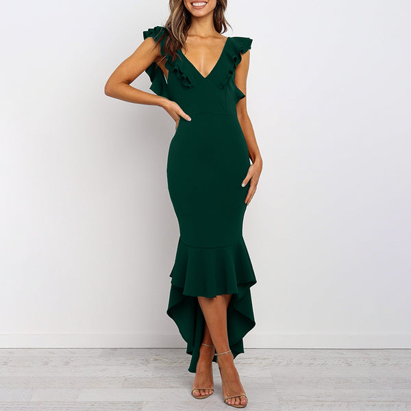 V-Neck Sexy Backless Slim Maxi Dress(Video)