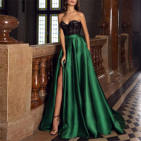 Lace Solid Color Split Evening Dress