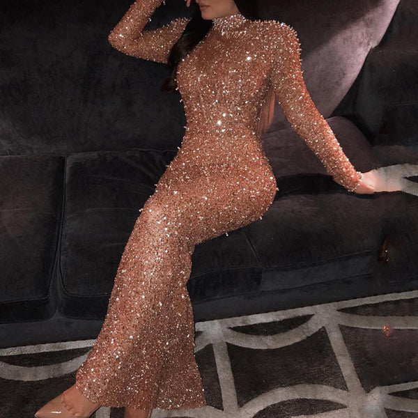 Sexy Halter Gold Evening Dress