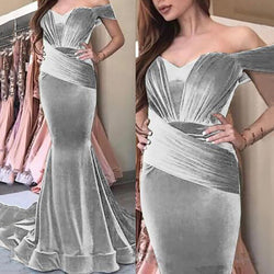 Women's Elegant Pure Color Tube Top Resist Ruched Hem Evening Dress