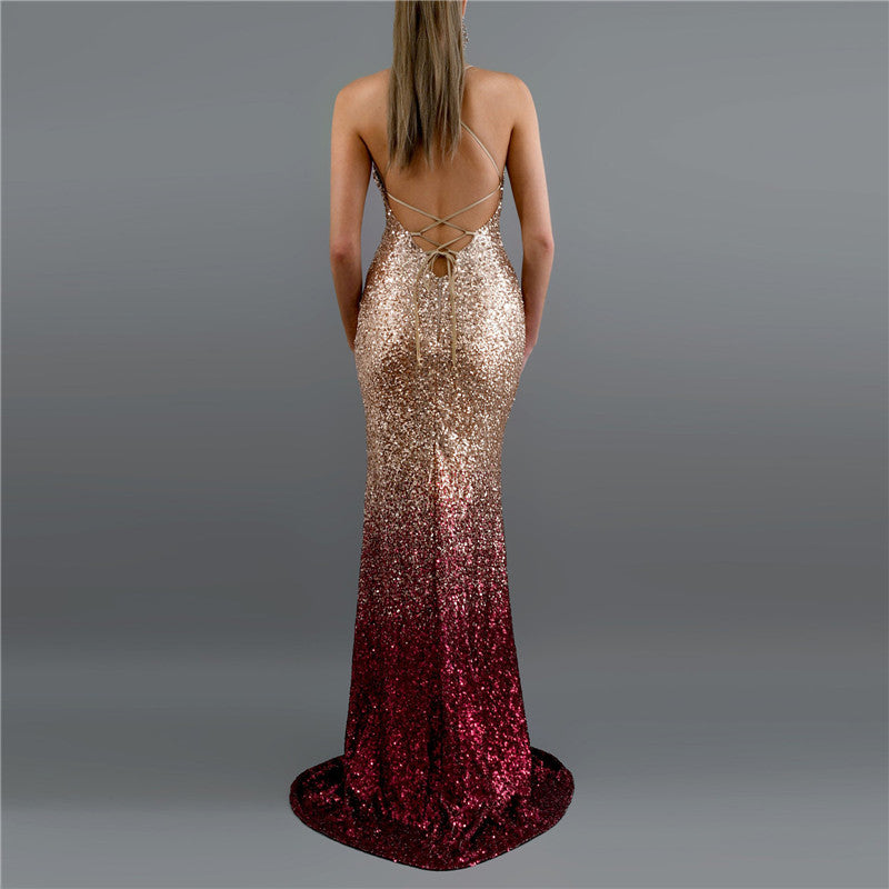 Sexy V-Neck Sling Sequined Gradient Evening Dress