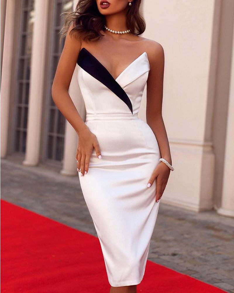 Fashion Sexy Strapless Sheath Dress