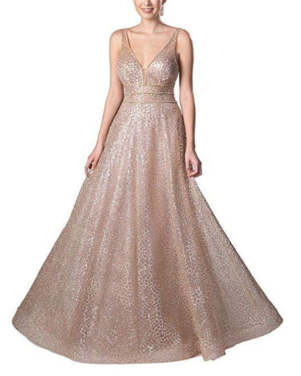 V-Neck Tulle Sequined Embroidered Evening Dress