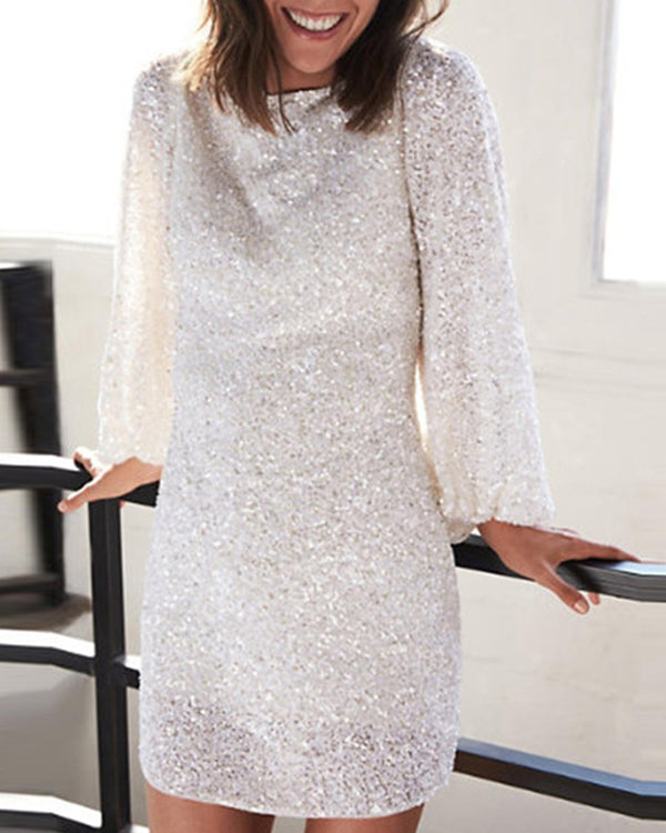 Fashion Crew Neck Sequined Long Sleeve Dress