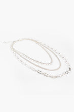 Load image into Gallery viewer, MULTI CHAIN LAYERED NECKLACE - SILVER