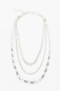 MULTI CHAIN LAYERED NECKLACE - SILVER