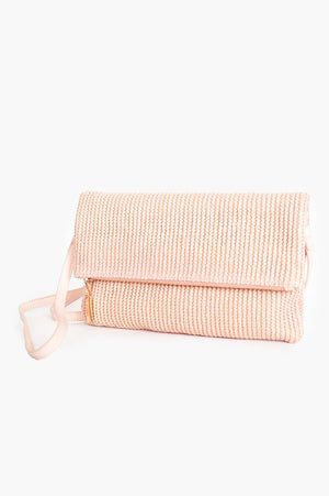FOLD OVER SIP TOP TASSEL WEAVE CLUTCH - PINK
