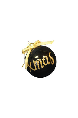 GLITTER CHRISTMAS GLASS BAUBLE 8CM BLACK