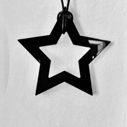 TWO BLONDE BOBS STAR NECKLACE - WHITE + BLACK