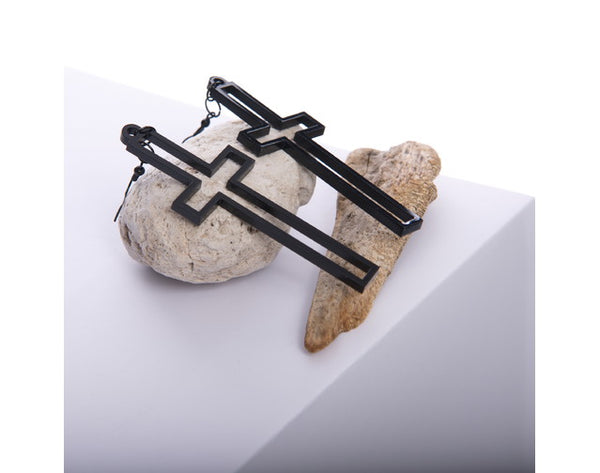 TWO BLONDE BOBS CROSS EARRINGS BLACK OR WHITE
