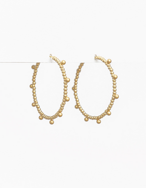 STELLA AND GEMMA GOLD DOTTED BEAD HOOPS