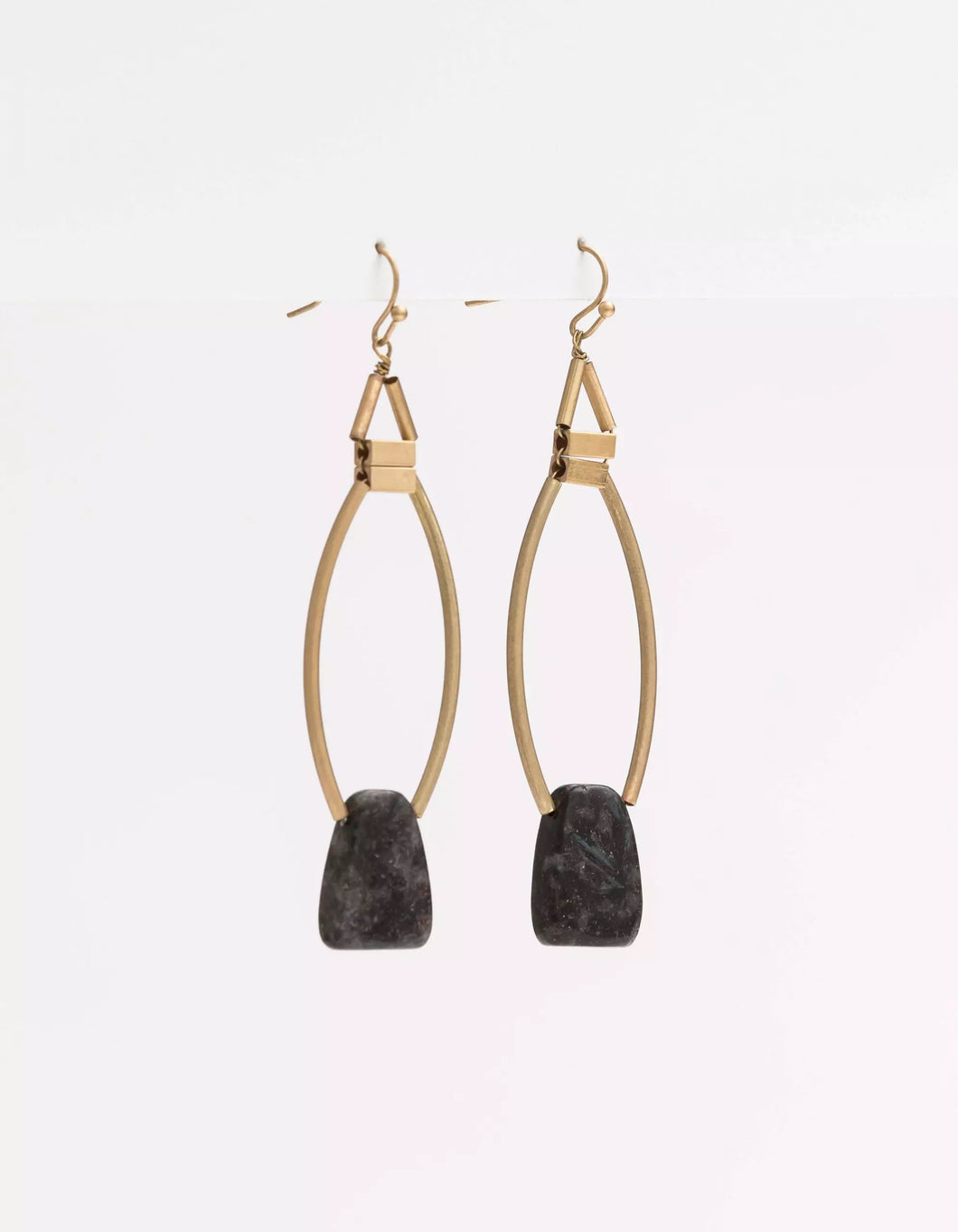 STELLA + GEMMA BLACK W/ BRASS EARRINGS
