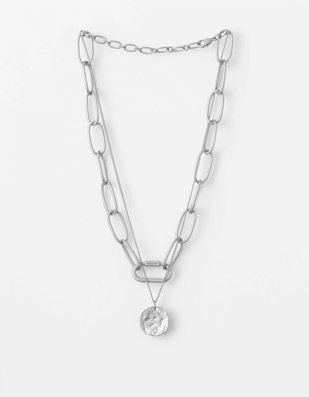 STELLA + GEMMA SILVER CHAIN AND PENDANT NECKLACE