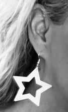 Load image into Gallery viewer, TWO BLONDE BOBS STAR EARRINGS IN WHITE + BLACK