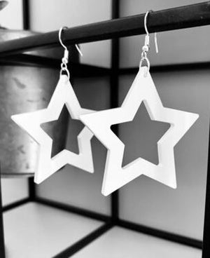 TWO BLONDE BOBS STAR EARRINGS IN WHITE + BLACK
