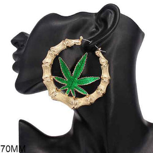 Marijuana Leaf Bamboo Style Earrings