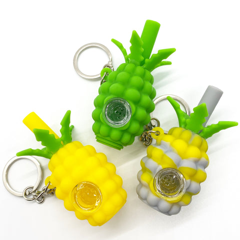 Pineapple Silicone Pipe Keychain