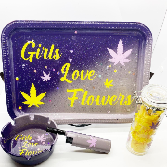 Girls Love Flowers Rolling Tray Set