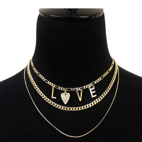 LOVE Layered Gold Necklace