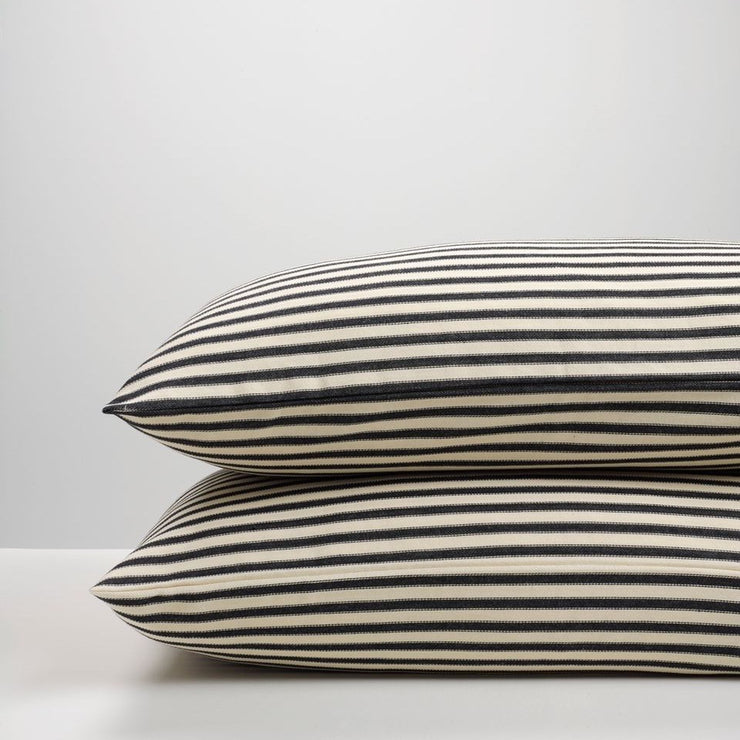 THREAD DESIGN Ticking Stripe Pillowcase pair- Navy