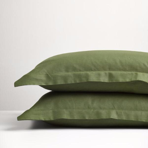 THREAD DESIGN Linen Pillowcases -Forest Green