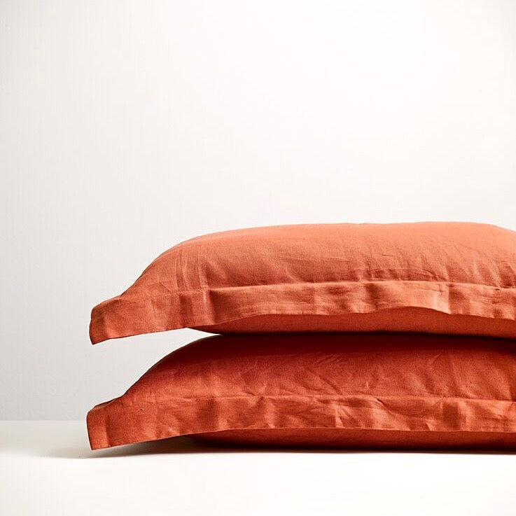 THREAD DESIGN Linen Pillowcases -Brick